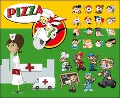 卡通人物矢量多重角色,免费矢   像素化的动画漫画人物矢量高清图片