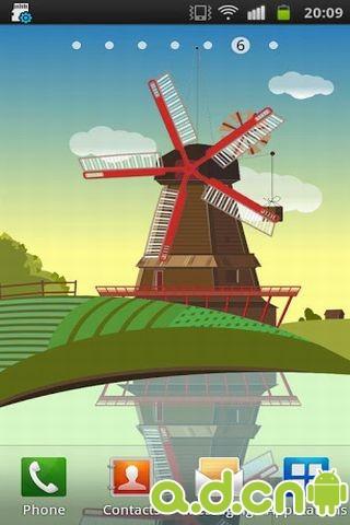 风车和池塘动态壁纸