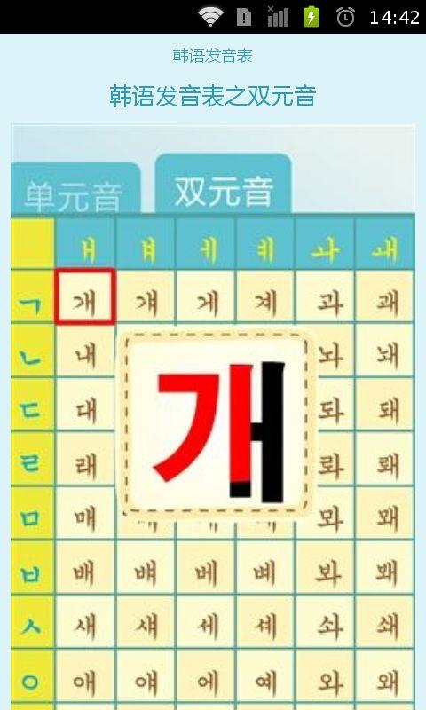 标准韩语发音表