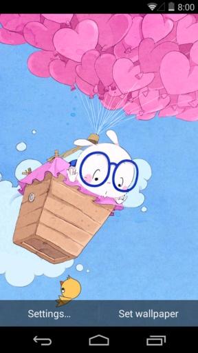 扑克兔之爱的气球-梦象动态壁纸